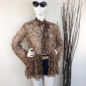 Scott Barrie | 70s Vintage Silk Chiffon Blouse